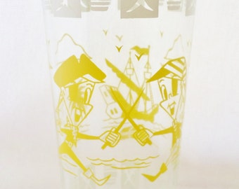 1950's, Vintage, Hazel Atlas, Pirate, Swashbuckler, Character, Bar Glass, Glassware, Yellow, White