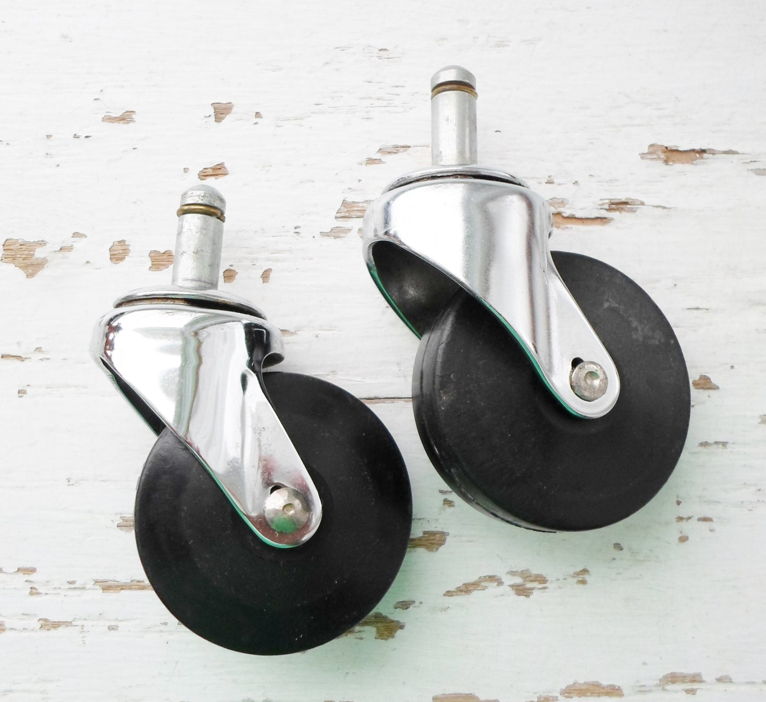 Casters Set Of Two Matching Steel And Rubber Industrial