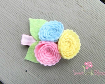 Felt Flower Hair Clip - Spring Lollypop Blossom Clip or Headband - Girl Baby Infant Lady Photoprop Accessory
