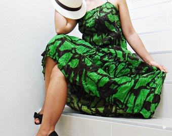 Flower Green  Long Dress..... Maxi Dress Cotton