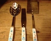 3 Retro Stainless Steel Cooking Utensils, White Base with Turquoise and Gold design