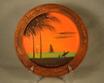 Hawaiian Plate Souvenir Surfing Hand Carved Painted Wood