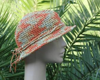 Hand Crochet Hat Marbled Colour Raffia Hat,Womens Summer Hat, Cottage Chic Sun Hat, Sun Hat Woman,Short Brim Hat,Bohemian Summer Hat #68
