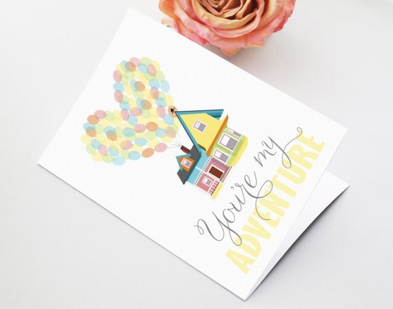 "Printable 5x7"" Anniversary Card - You're my Adventure - Inspired by Carl and Ellie's House from the Disney Pixar movie UP - Valentine LOVE"