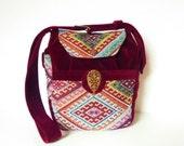 "Ethnic Kilim Boho Gypsy Hippie Tapestry Retro Bag Purse ""Keita"" Multicolor RubyRed Velvet Kelim Festival Bag Goa Vintage Oriental Funky 70s"