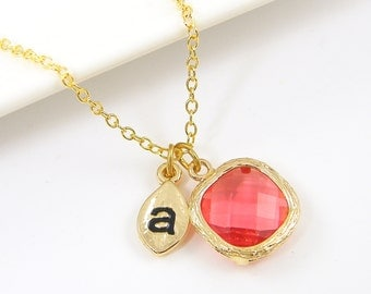 Personalized Coral Necklace, Coral Pendant Necklace, Coral Drop Necklace, Initial Alphabet Gold Bridesmaid Bridal Jewelry |CJ1-13