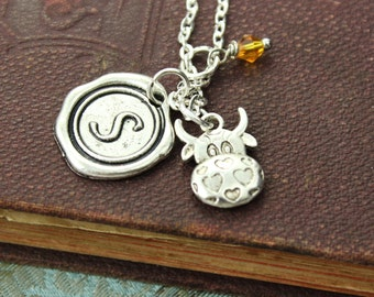 Cow Charm Personalized Birthstone Initial Necklace Antiqued Silver