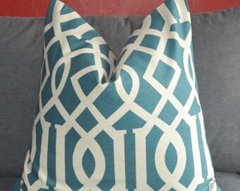 Pillow Cover, Decorative Pillow, Throw Pillow, Toss Pillow, Sofa Pillow, Blue Fretwork, Blue Trellis, 20x20 inch, Home Furnishing,Home Decor