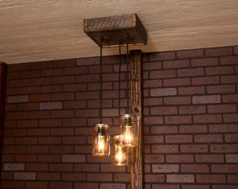 Rustic lighting, Mason Jar Chandelier With Reclaimed Wood and 3 Pendants. R-1212-CMJ-3