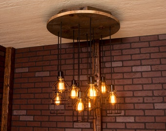 Industrial lighting, Industrial Chandelier, Black With Reclaimed Wood and 10 Pendants. R-26C-BC-10