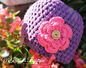 McBella Beanie - Flower & Signature Button (Toddler/Child) - MADE to ORDER