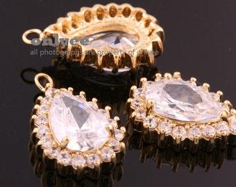 2pcs-20mmX13mm Gold plated LUX Cubic zirconia Tear Drop Pendants-Clear(M321G)
