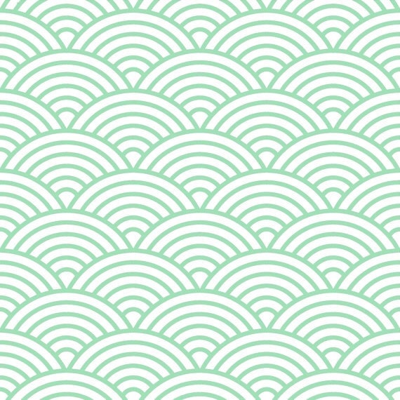 Removable wallpaper scalloped fish scale print mint for Fish scale wallpaper