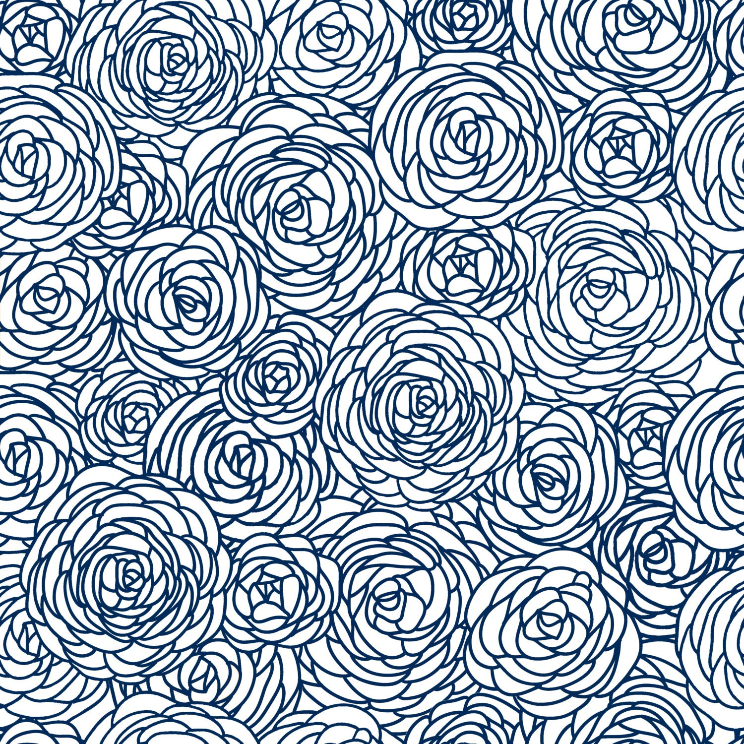 Removable wallpaper blossom print navy for Printed wallpaper