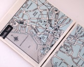 1960 Marseilles France Handmade Vintage Map Coasters - Ceramic Tile Coasters set of 2 - Repurposed 1960s Atlas - OOAK Drink Coasters
