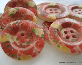 25mm Wooden Buttons, Red Rose Print Buttons, Pack of 15 Red Buttons, W2518