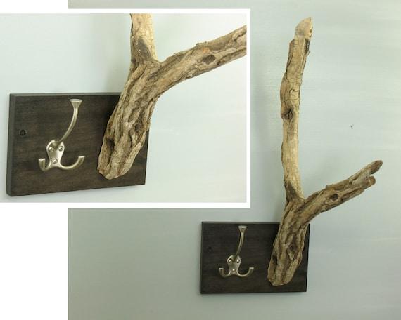 driftwood coat rack rustic tree branch drift wood key holder. Black Bedroom Furniture Sets. Home Design Ideas