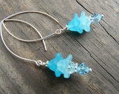 Teal flower dangle earrings.  Lucite and Swavorski crystal earrings. Sterling Silver earrings.  Long dangle earrings.  Gift for her.