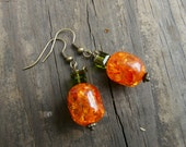 Pumpkin Earrings.  Crystal and Glass Bead Dangle Earrings with Bronze Wires.  Autumn Jewelry.