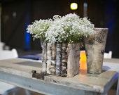 birch bark wood vases wedding table decor flower pot, rustic wedding decor centerpiece, flowers, tabletop decorations