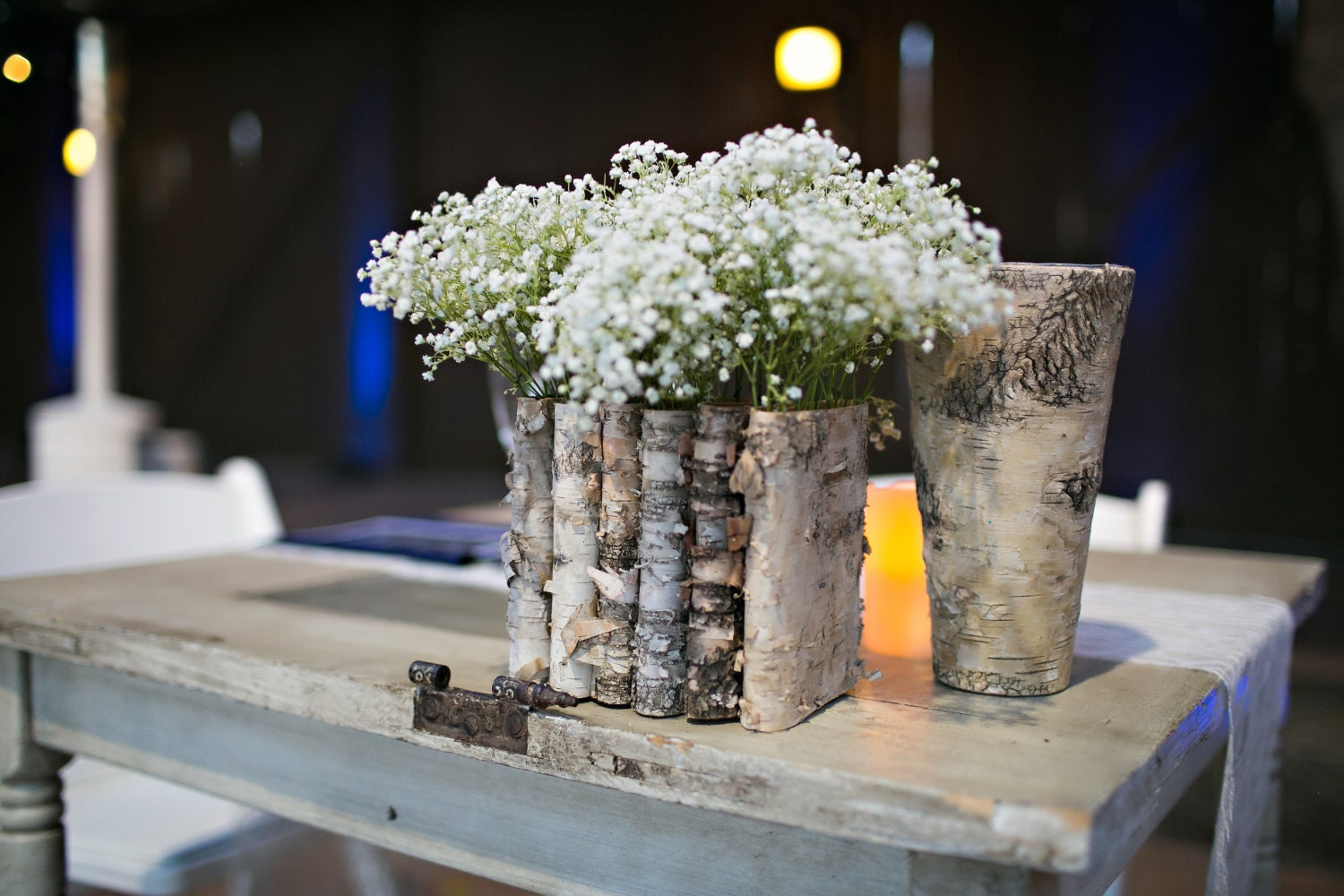 Birch bark wood vases wedding table decor flower pot rustic for Table centerpiece decor