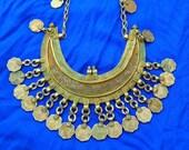 Vtg Huge OOAK Antique Old India Banjara Rajasthan Ethnic tribal gypsy belly dance engraved Silver Brass tone coins dangle statement necklace