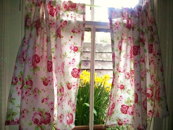 Window curtains shabby chic curtains kitchen by clarashandmade Shabby chic curtain window