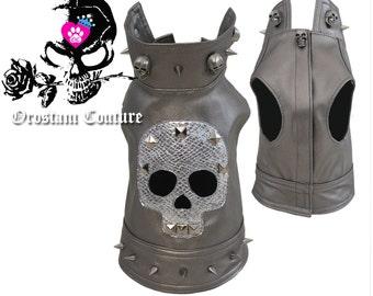 Metallic Silver Rocker Skull Jacket