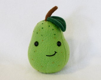 Plush pear pretend food toy embroidered details