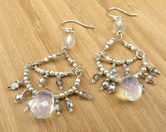 Faceted Moonstone and Matte Quartz Chandelier Earring