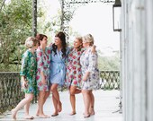 1 lace and 4 cotton robes. Custom knee length robes or bridal dressing gowns in your choice of fabrics. Womens lounge robe or wedding robe.