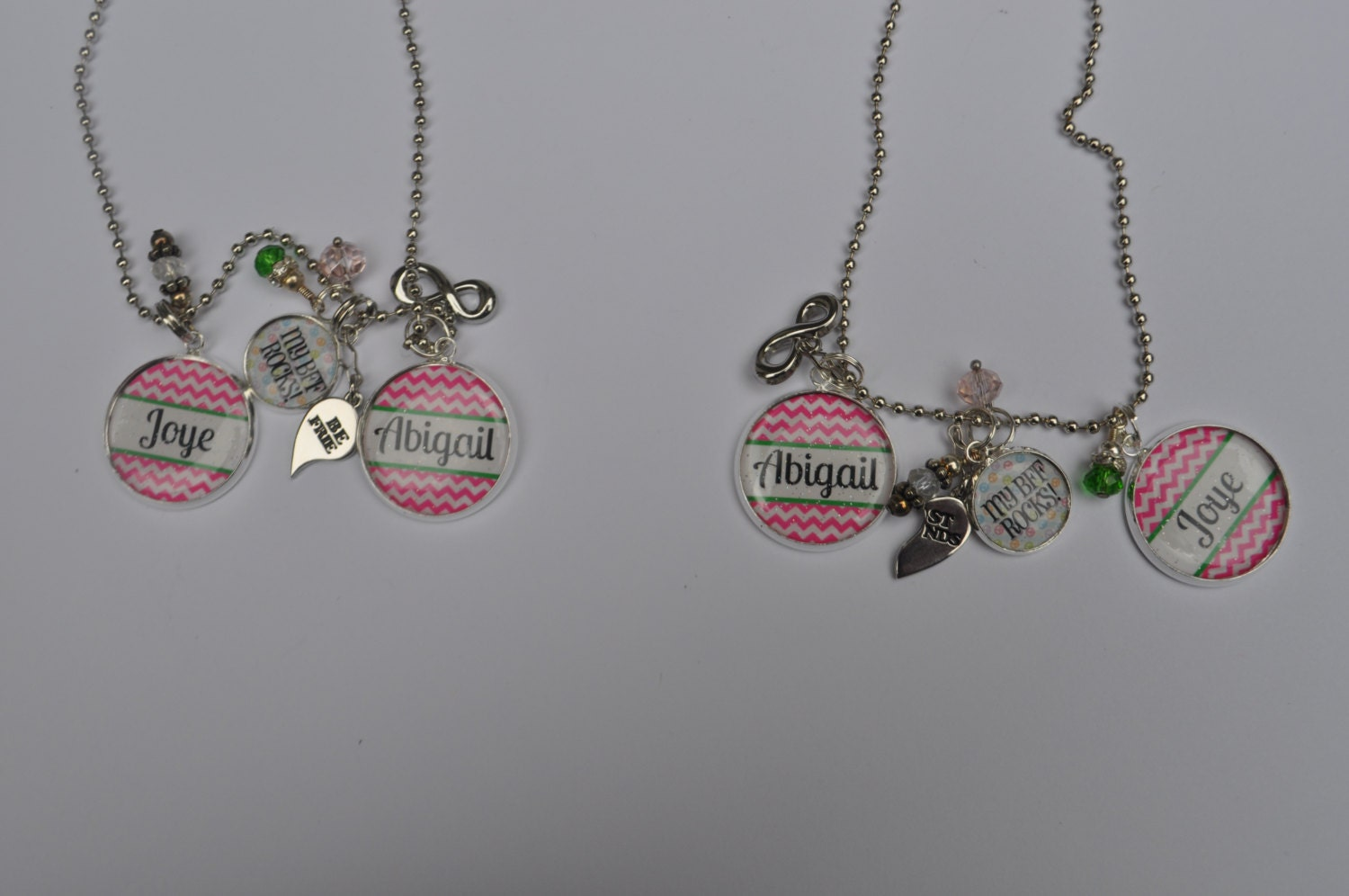 2 personalized best friends necklaces with 3 pendants