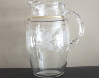Vintage Glass Pitcher / Kitchen/ Juice Pitcher / Housewares