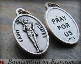 St Dismas Charm Pendant Necklace, Saint Dismas, St. Dismas, St Dismas Medal, Catholic, Good Thief, Patron Saint of Prisoners, ITALY made