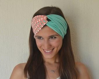 Coral and mint green tribal stretchy turban headband-Yoga headband-Ear warmer-Women's accessory-Twisted headband fashion hair wrap