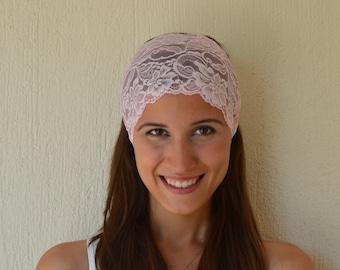 BS-5716- Blush pink boho lace headband stretchy hair band-Women's accessory-Trendy hair band-Gypsy hairband-Head wrap