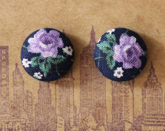 Fabric Covered Button Earrings / Purple Rose / Wholesale Jewelry / Stud Earrings / Bridesmaid Gifts / Great for Sensitive Ears