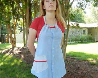 Blue Oxford Apron with Red Bow - Upcycled from man's shirt