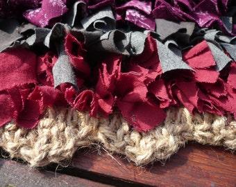 Unusual Rag Rug Mat Crocheted Jute base. Upcycled fabric. Clip rug. Snip rug. Shag rug. Proggy Mat. Latch hook.