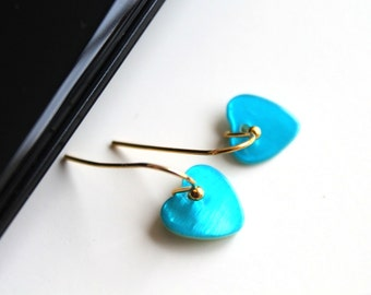 Tiny blue heart earrings, sky blue earrings, GOLD/SILVER small earrings, simple everyday jewelry.