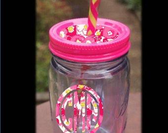 Hot Pink Monogrammed Mason Jar Mug with Lilly Pulitzer Vinyl  accented Lid and Monogram  -  LARGE 20oz Insulated mug & reusable Straw