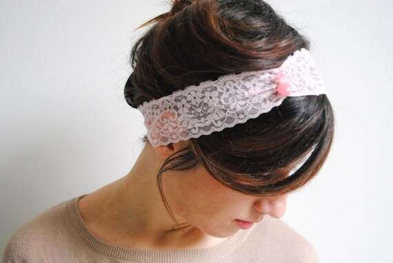 Pink Lace Headband - Pink Vintage Wedding Headbands- Lace Bridal Wedding Headband with Lace Rosette and Pearls