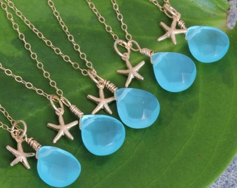 4 Set of Bridesmaid Starfish necklaces, gold filled, Blue Chalcedony , Birthstone  necklace, personalized bridesmaids gift, beach weddings