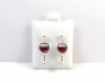 Sterling Silver Wine Glass w/ a Red Wine Crystal Charms on Sterling Silver Ball Post Stud Earrings-2211