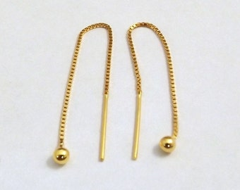 14k Gold over Sterling Silver (Vermeil) Threader Earrings -0559