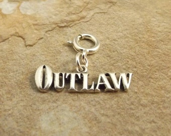 Sterling Silver Outlaw Charm on 8mm Sterling Silver Spring Ring - 2163