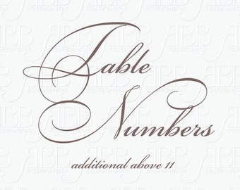 Additional Table Numbers (above 11)