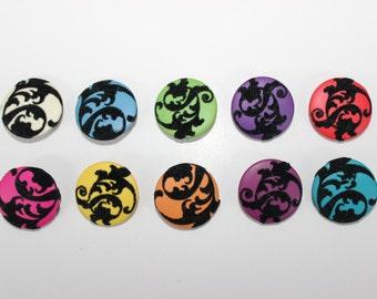 Set of Ten Flocked Fabric Round Button Pins
