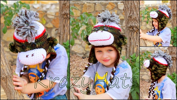 Crochet Sock Monkey Hat with Mohawk, Made to Order from Newborn to Adult Sizes.