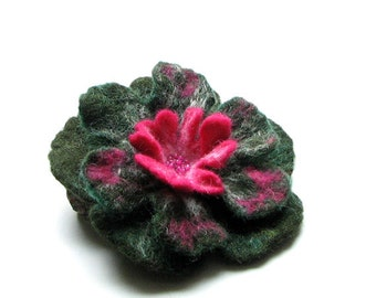 Felted Flower Brooch Felt Brooch Flower Pin Felted Brooch Green Brooch GREEN poppy felt nuno nunofelt poppy silk flower folk boho